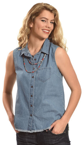 Derek Heart Women's Sleeveless Denim Button Down Shirt, Dark Blue, hi-res