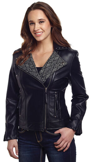 Cripple Creek Women's Black Studded Moto Jacket, Black, hi-res