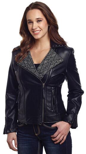 Cripple Creek Women's Black Studded Moto Jacket, Black, hi-res