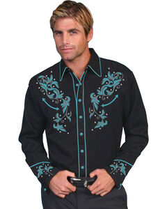 Scully Men's Turquoise Embroidered Shirt, , hi-res