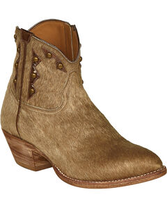Lucchese Tan Hair-On Calf Demi Cowgirl Booties - Pointed Toe , , hi-res
