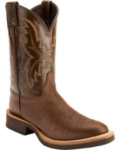Justin Antique Brown Smooth Ostrich Tek Crepe Cowboy Boots - Round Toe, , hi-res