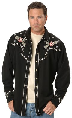 Scully Roses & Cowboy Skeleton Embroidered Retro Western Shirt, Black, hi-res