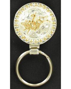 Silver & Gold-Tone Bucking Bull Key Ring, , hi-res
