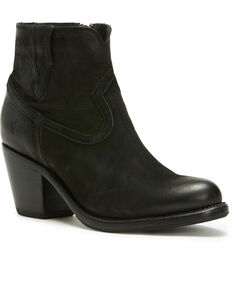 Frye Women's Black Lillian Western Booties - Round Toe , , hi-res