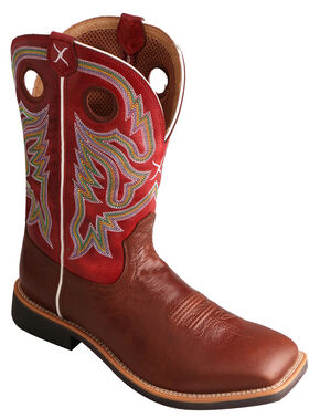Twisted X Men's Burgundy Top Hand Cowboy Boots - Square Toe, Burgundy, hi-res