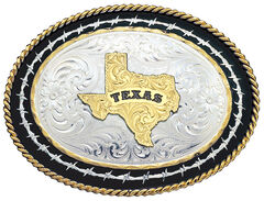 Montana Silversmiths Barbed Wire Texas State Western Belt Buckle, , hi-res