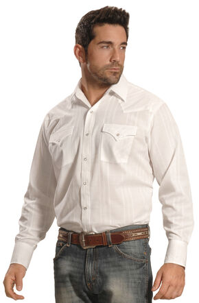 Ely Cattleman Men's White Windowpane Snap Western Shirt , White, hi-res