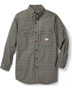 Rasco Men's Green Plaid FR Work Dress Shirt , , hi-res