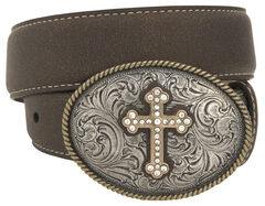 Nocona Girls' Oval Cross Buckle Belt, , hi-res