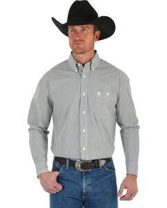 Wrangler George Strait Men's Black & White Stripe Shirt, , hi-res