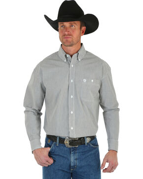 Wrangler George Strait Men's Black & White Stripe Shirt, Black, hi-res
