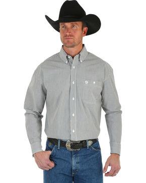 Wrangler George Strait Men's Black & White Stripe Shirt, Black, hi-res