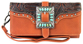 Montana West Trinity Ranch Buckle Wallet with Turquoise Stones, Brown, hi-res