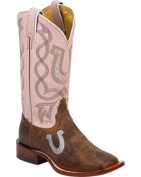 Tony Lama Pink Horseshoe Saigets Cowgirl Boots - Square Toe, Tan, hi-res