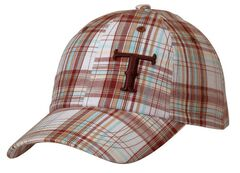 Twister Turquoise, Brown & White Plaid Casual Cap, , hi-res