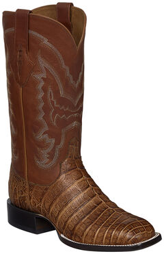 Lucchese Tan Sean Belly Caiman Cowboy Boots - Square Toe , , hi-res