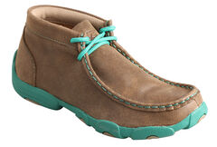 Twisted X Kid's Brown and Turquoise Leather Driving Mocs, , hi-res