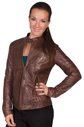 Scully Croc Embossed Leather Jacket, Chocolate, hi-res