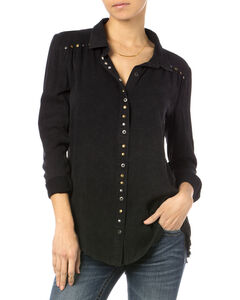 Miss Me Black Studded Button Shirt , , hi-res