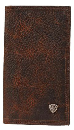 Ariat Logo Concho Brown Leather Rodeo Wallet, , hi-res