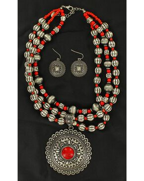 Blazin Roxx Round Concho Coral Stone Necklace & Earrings Set, Coral, hi-res
