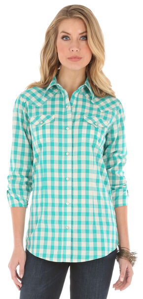 Wrangler Women's Gingham Metallic Plaid Shirt, Teal, hi-res