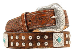 Nocona Fancy Concho Basketweave & Hair-on-Hide Belt, , hi-res