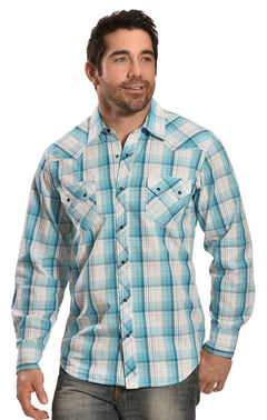 Ely Men's 1878 Turquoise Plaid Sawtooth Western Shirt , , hi-res