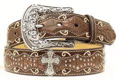 Ariat Brown Studded Cross Inlay Belt, , hi-res