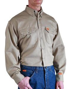 Wrangler Men's Khaki Flame Resistant Long Sleeve Work Shirt - Big & Tall, , hi-res