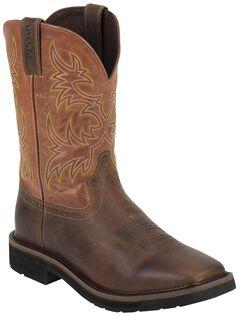 Justin Rugged Tan Stampede Pull-On Work Boots - Square Toe, , hi-res