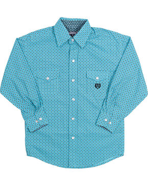 Panhandle Boy's Long Sleeve Western Shirt, Blue, hi-res