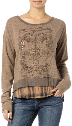 MIss Me Brown Double Layer Graphic Top , , hi-res