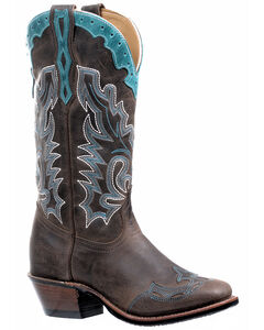 Boulet Selvaggio Wood West Turqueza Vintage Cowgirl Boots - Square Toe, , hi-res