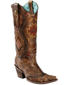Corral Aztec Embroidered Whipstitched Cowgirl Boots - Snip Toe, , hi-res