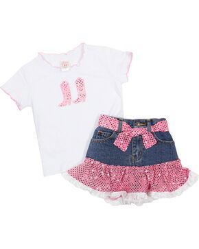 Kid's Korral Girl's Sequin Ruffle Shirt and Skirt Set, Pink, hi-res