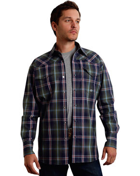 Roper Men's Amarillo Collection Green Plaid Snap Long Sleeve Shirt, Green, hi-res
