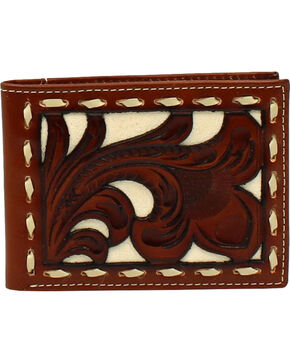 Nocona Men's Floral Bone Buck Inlay Bi-Fold Wallet , Tan, hi-res