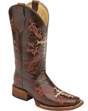 Circle G Cross Embroidered Cowgirl Boots - Square Toe, Cognac, hi-res