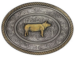 Montana Silversmiths Prize Pig Classic Impressions Attitude Belt Buckle, , hi-res