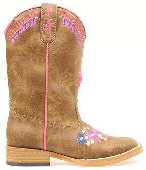 Blazin Roxx Girls' Sashay Floral Embroidered Cowgirl Boots, Brown, hi-res