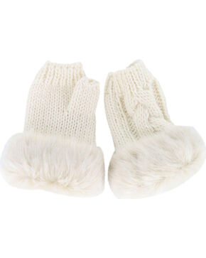 Shyanne Women's Soft Fur Trim Fingerless Gloves , Cream, hi-res