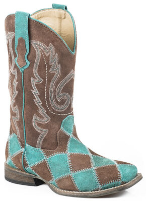 Roper Girls' Turquoise Patchwork Cowgirl Boots - Square Toe, Turquoise, hi-res