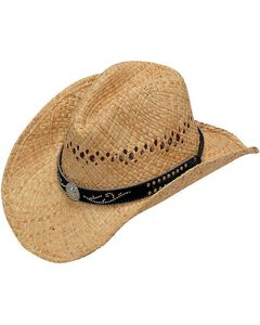 Blazin Roxx Studded Scroll Hat Band Raffia Straw Cowgirl Hat, , hi-res