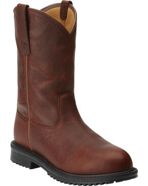 Ariat Rigtek Pull-On Work Boots - Safety Toe, Brown, hi-res