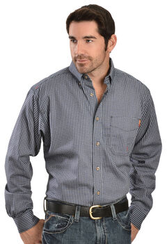 Ariat Men's Flame-Resistant Navy Check Long Sleeve Work Shirt, , hi-res
