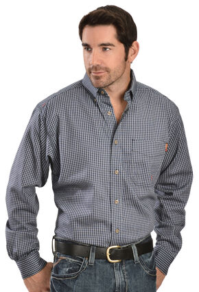 Ariat Men's Flame-Resistant Navy Check Long Sleeve Work Shirt, Blue, hi-res