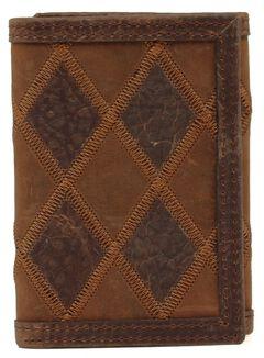 Nocona Patcwork Tri-fold Wallet, Brown, hi-res