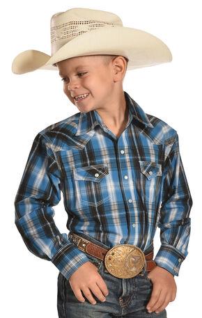 Crazy Cowboy Boys' Blue/Black Plaid Shirt - 8-16, Blue, hi-res